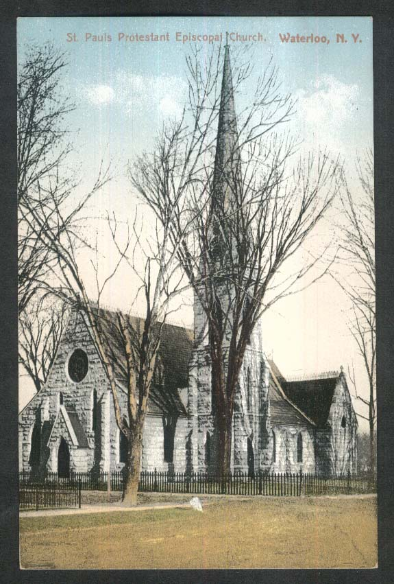 St Pauls Protestant Episcopal Church Waterloo NY postcard 1910s