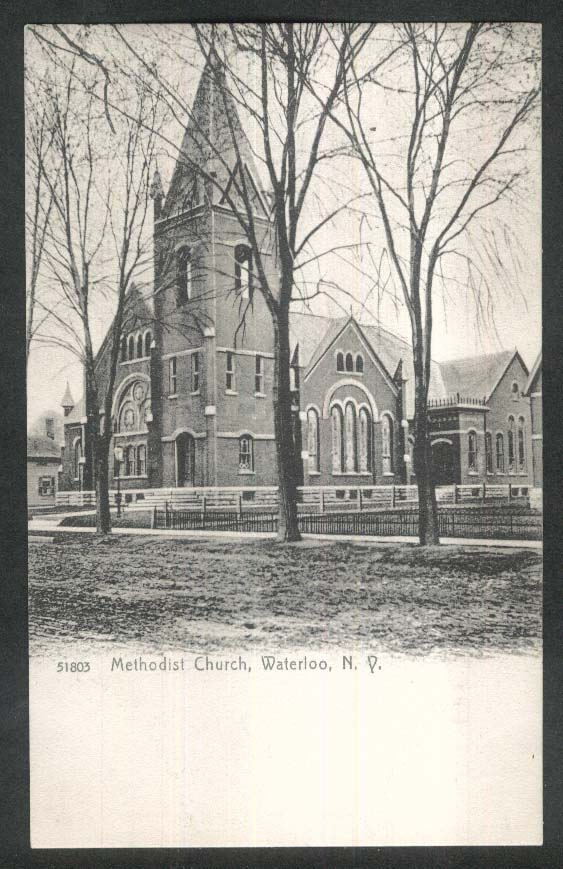 Methodist Church Waterloo NY undivided back postcard 1900s