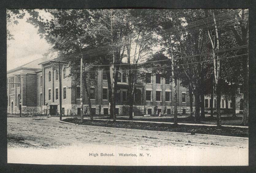 High School Waterloo NY undivided back postcard 1900s