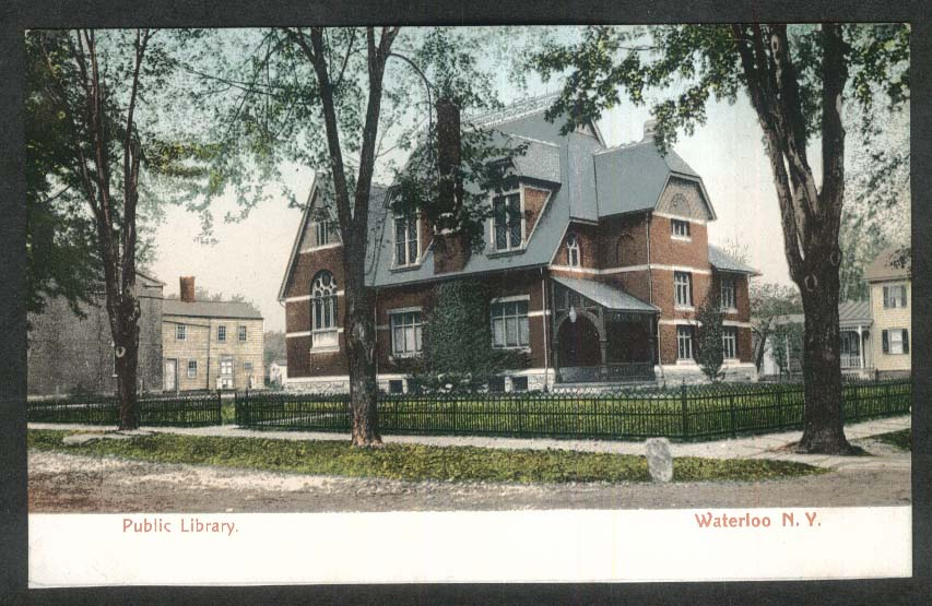 Public Library Waterloo NY undivided back postcard 1900s