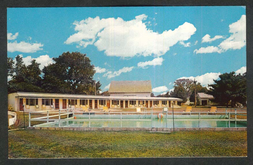 Pool at Tag's Motel Castleton VT postcard 1960s