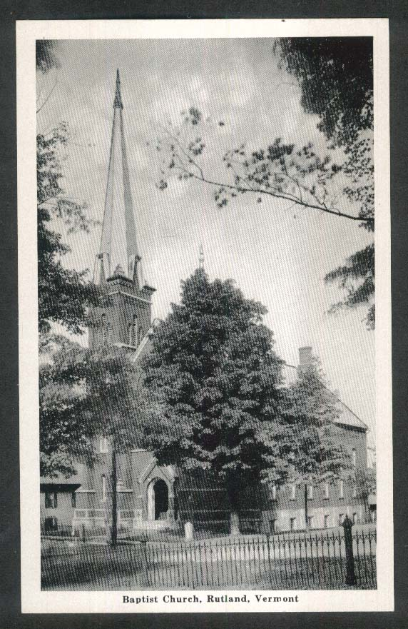 Baptist Church Rutland VT postcard 1930s