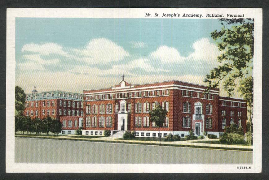 Mt St Joseph's Academy Rutland VT postcard 1930s