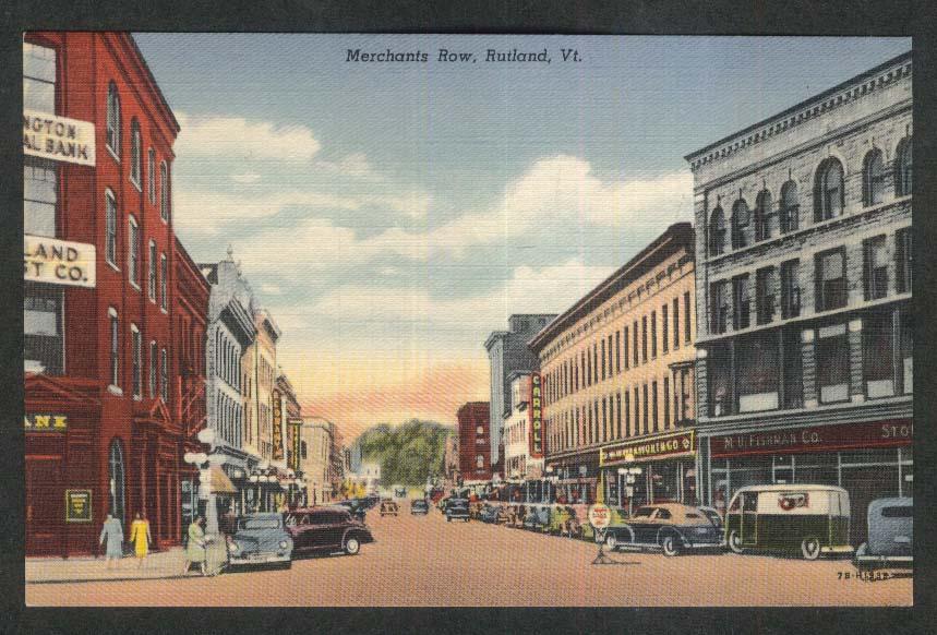 Carroll Woolworth Co M H Fishman Co Merchants Row Rutland VT postcard 1930s