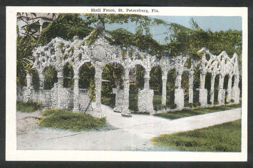 Shell Fence St Petersburg FL postcard 1920s