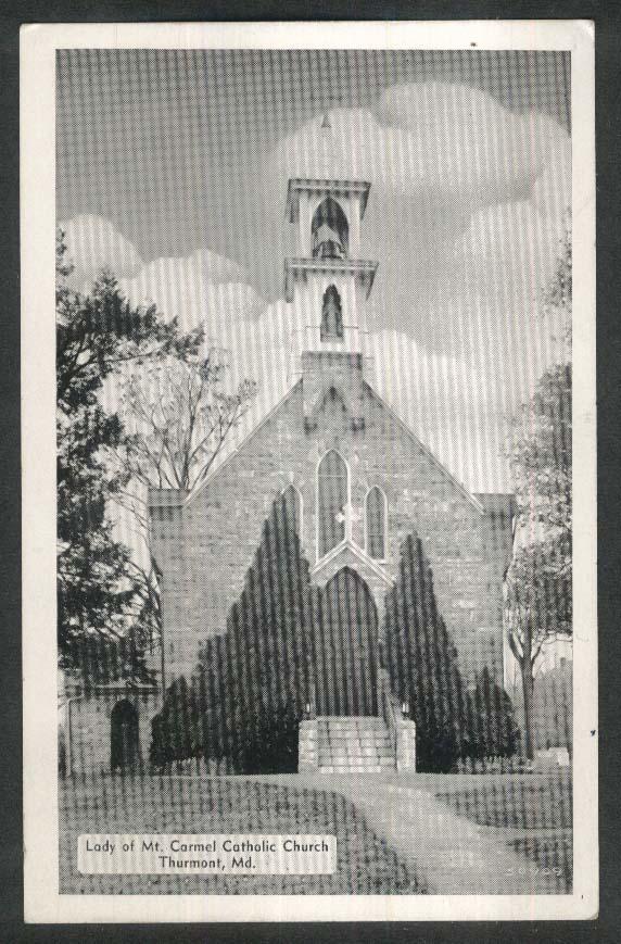 Lady of Mt Carmel Catholic Church Thurmont MD postcard 1940s