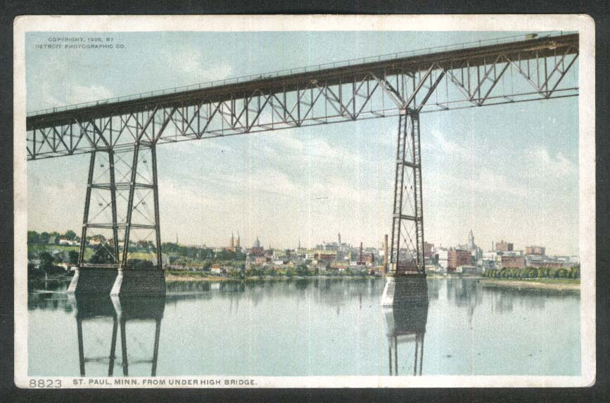 Skyline of St Paul MN from under High Bridge postcard 1910s