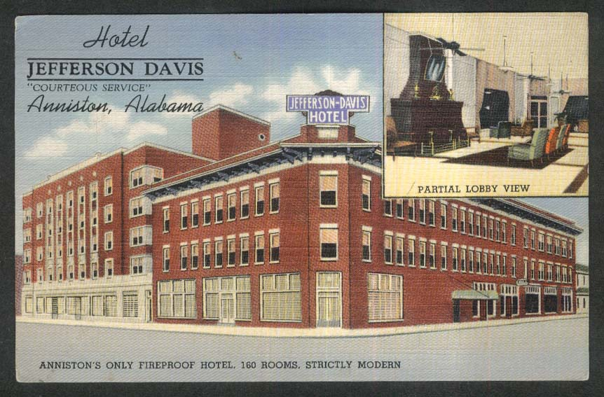 Fireproof Hotel Jefferson Davis & Lobby View Anniston AL postcard 1930s