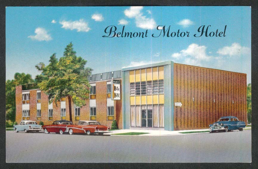 Belmont Motor Hotel 222-17 Hempstead Ave Queens Village NY postcard 1950s