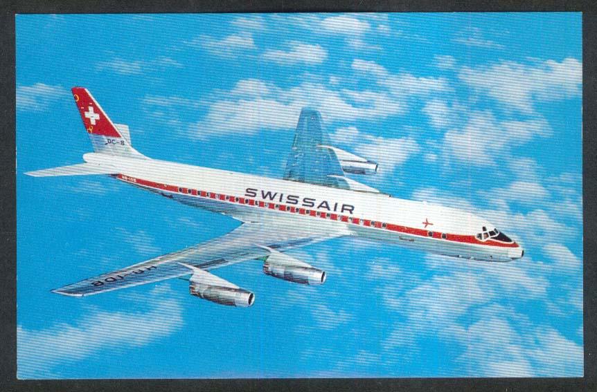 Swissair DC-8 Jet postcard 1960s