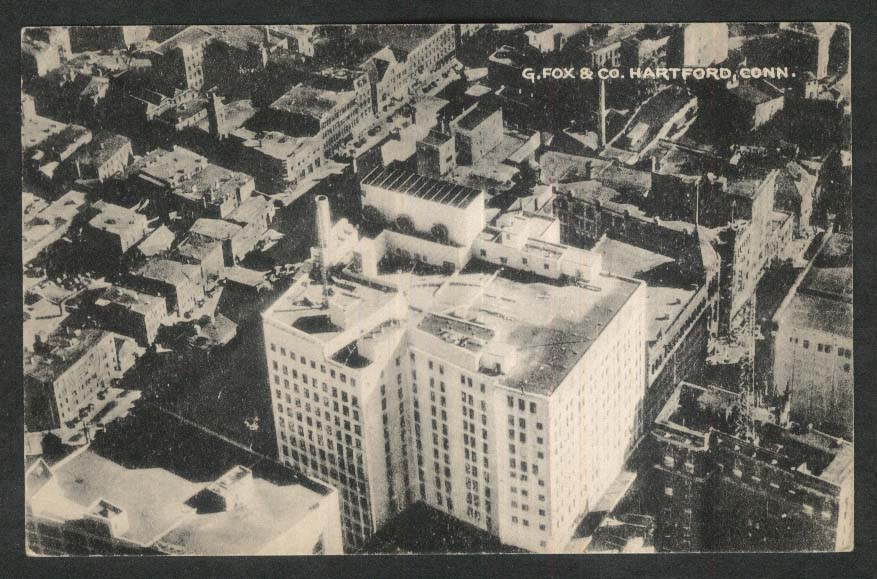 Aerial View of G Fox & Co Building Hartford CT postcard 1940s