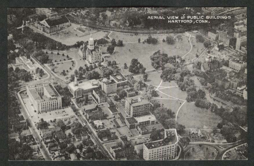 Aerial View of Public Buildings Hartford CT postcard 1940s