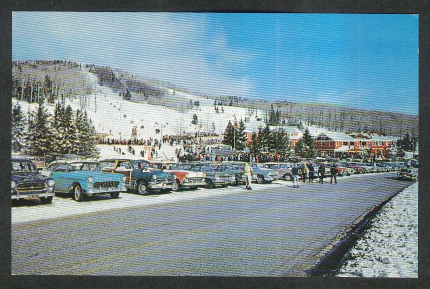 1955 Chevy & 1950 Ford Woody at Bromley Ski Area Manchester VT postcard 1950s