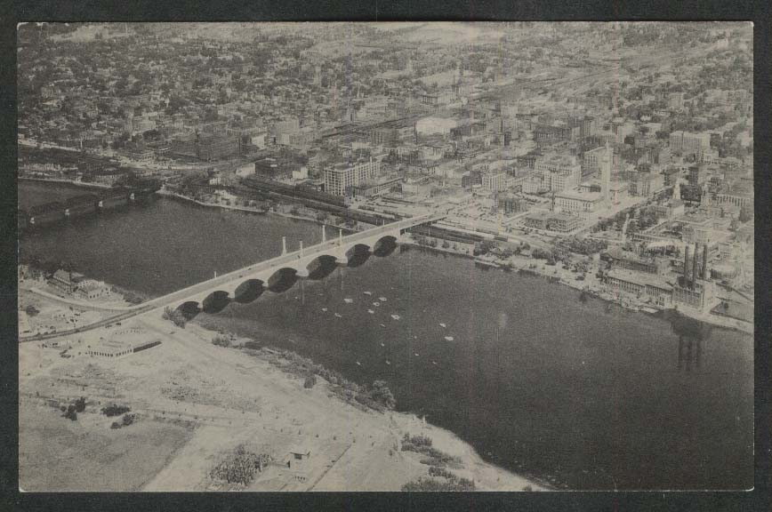 Memorial Bridge Springfield MA postcard 1940s