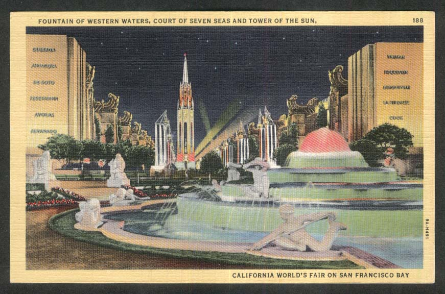 Western Waters Seven Seas Tower of Sun San Francisco World's Fair postcard 1939