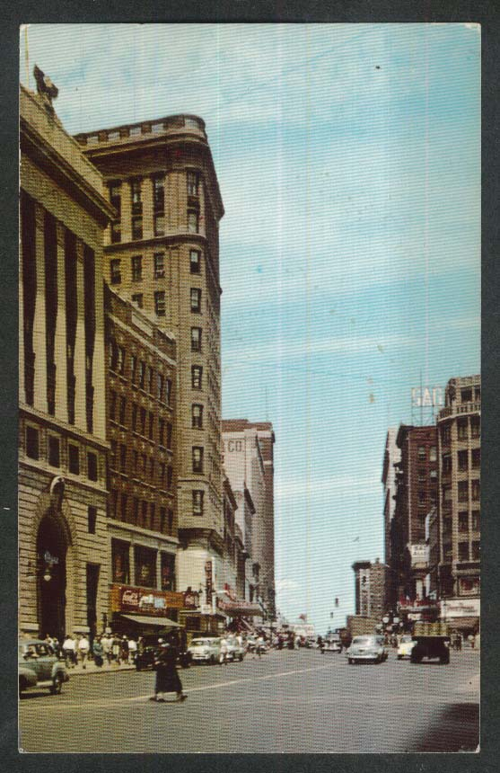 Coca-Cola sign Main Street Hartford CT postcard 1950s
