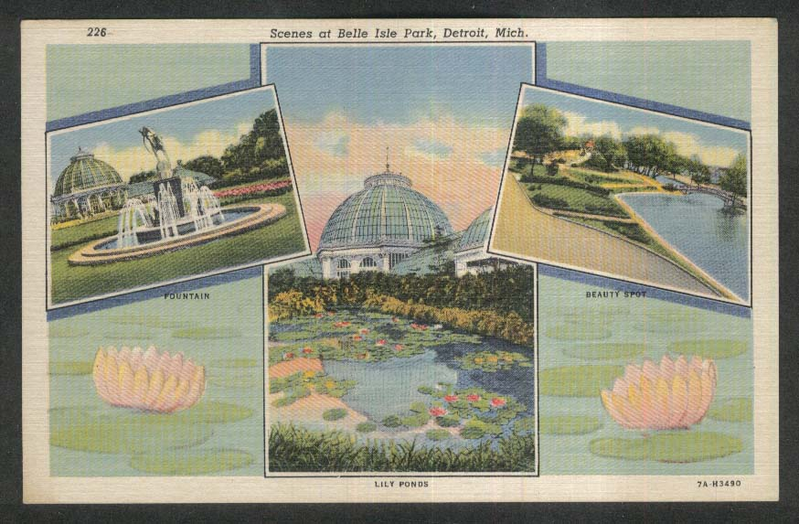 Scenes at Belle Isle Park Detroit MI Fountain Lily Ponds postcard 1930s