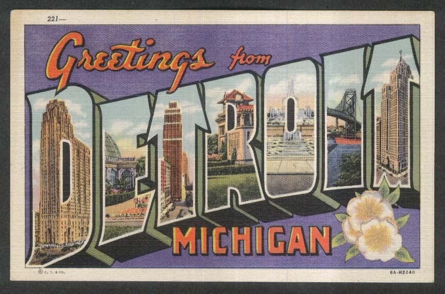 Greetings from Detroit MI Large Letter postcard 1930s