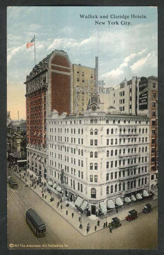 Criterion Theater Wallick Claridge Hotel New York City NY postcard 1917
