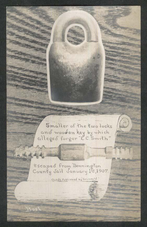 Wooden Key E C Smith Forger Bennington Jail Escape undivided back postcard 1900s