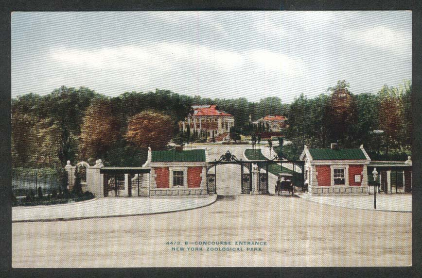 Concourse Entrance New York Zoological Park NY postcard 1910s
