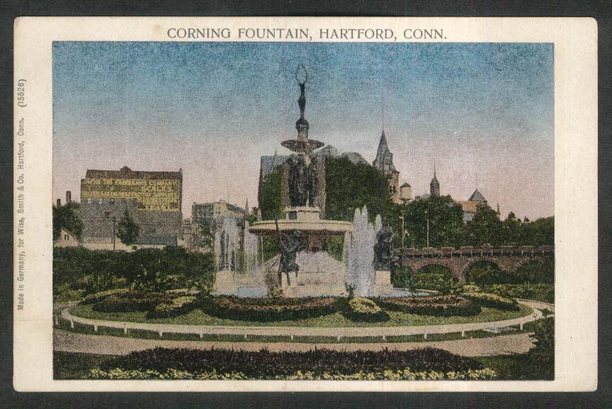 Corning Fountain Hartford CT undivided back postcard 1900s
