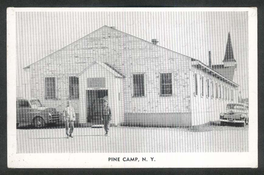 Post Office Pine Camp NY postcard 1940s