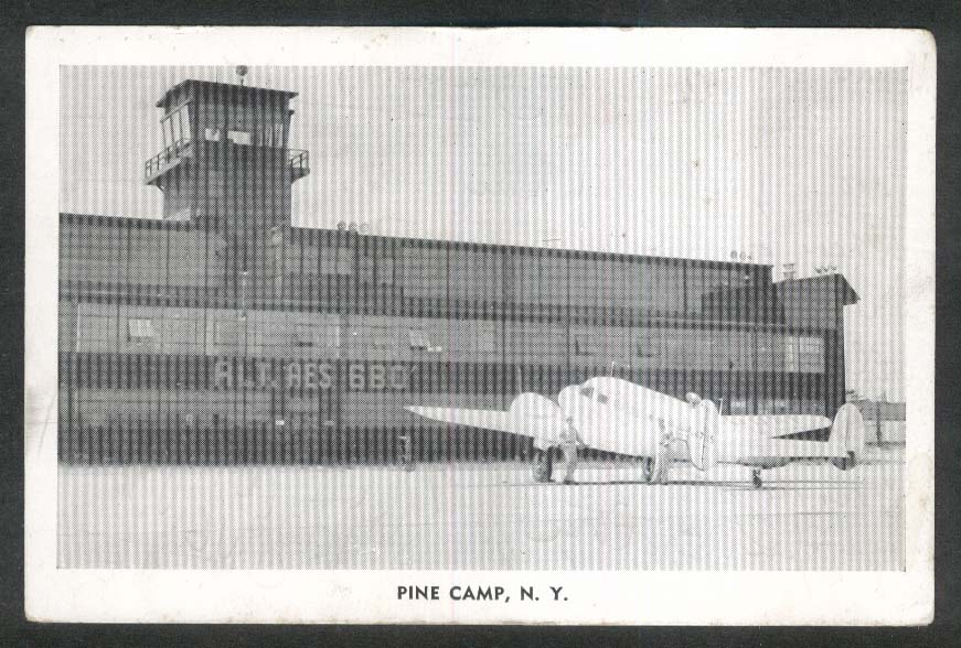 Army Plane at Airfield Pine Camp NY postcard 1940s