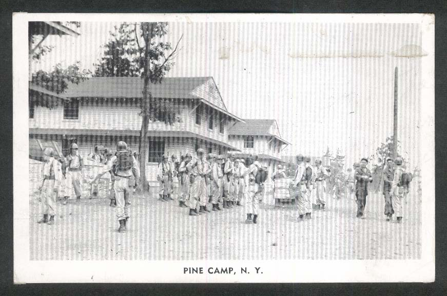 Soldiers in Training Pine Camp NY postcard 1940s
