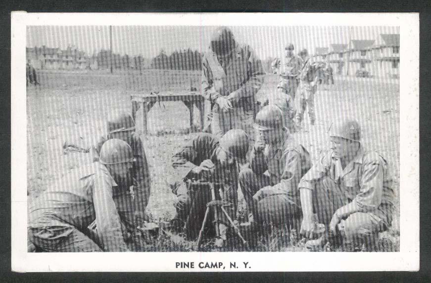 Mortar Training Pine Camp NY postcard 1940s