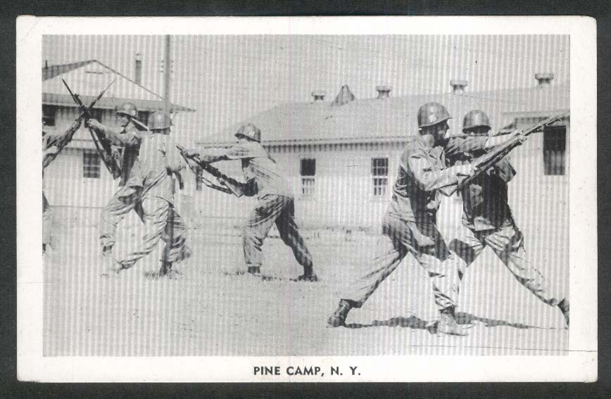 Bayonet Training at Pine Camp NY postcard 1940s