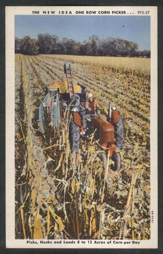 New Idea One Row Corn Picker postcard 1930s