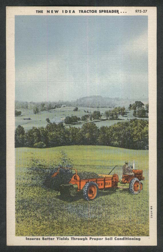 New Idea Tractor Manure Spreader postcard 1930s