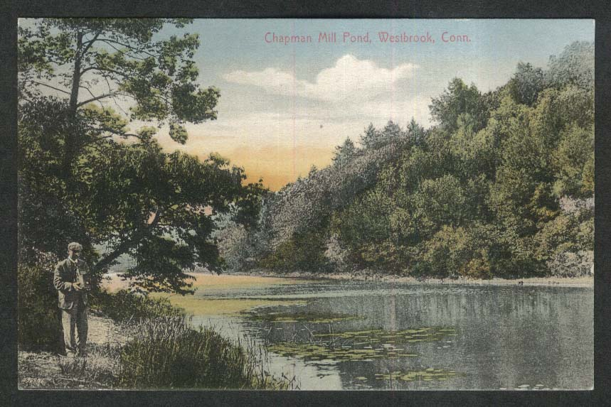 Chapman Mill Pond Westbrook CT postcard 1910s