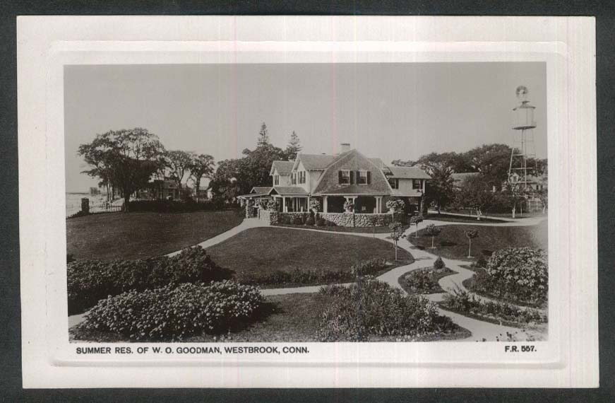 Summer Residence of W O Goodman Westbrook CT RPPC postcard 1920s