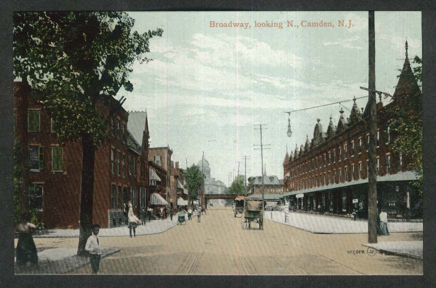 Broadway looking North Camden NJ postcard 1920s