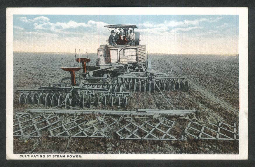 Cultivating by Steam Power postcard 1920s