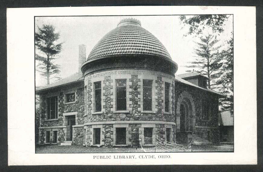 Public Library Clyde OH postcard 1920s