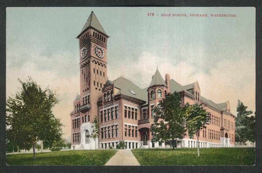 High School Spokane WA postcard 1920s