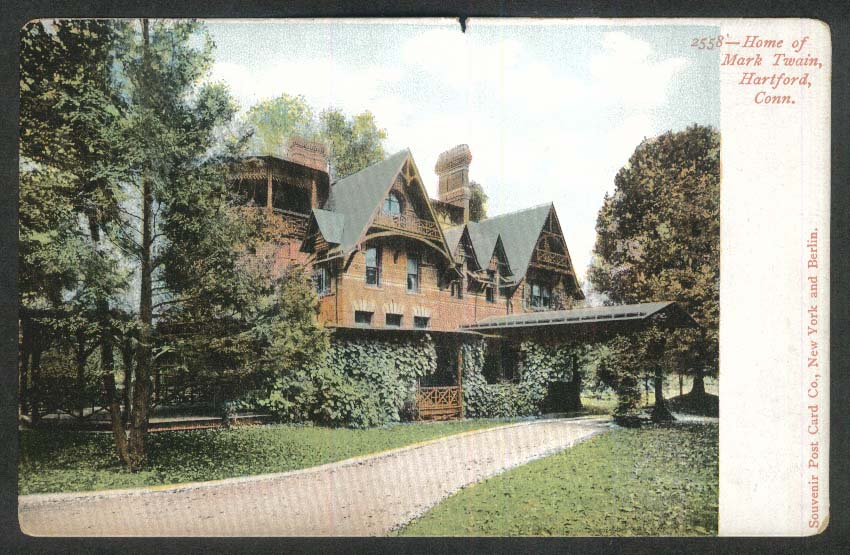 Home of Mark Twain Hartford CT undivided back postcard 1900s