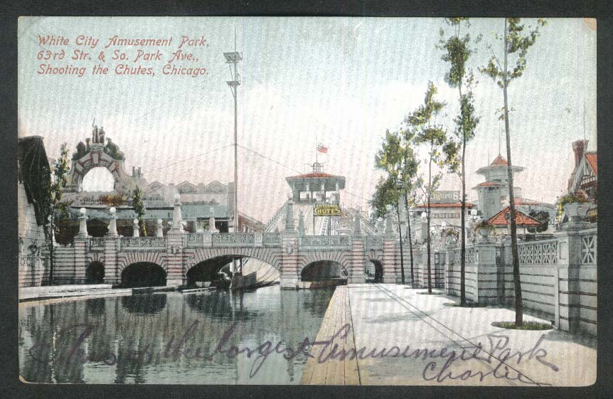 White City Amusement Park 63rd & Park Ave Chutes Chicago IL postcard 1910s