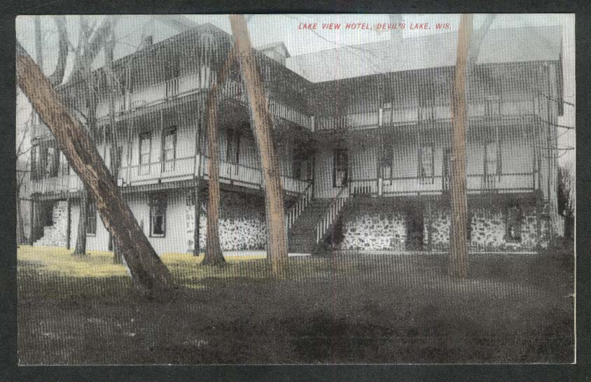 Lake View Hotel Devil's Lake WI postcard 1910s