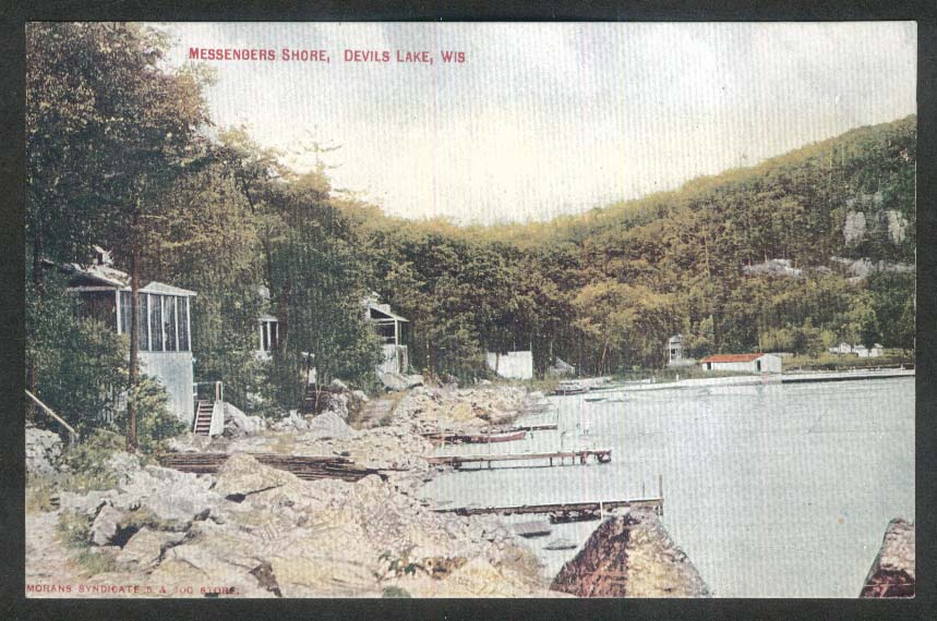 Messengers Shore Devils Lake WI postcard 1920s