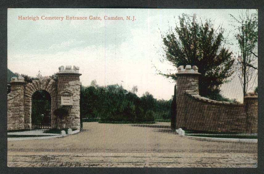 Harleigh Cemetery Entrance Gate Camden NJ postcard 1920s