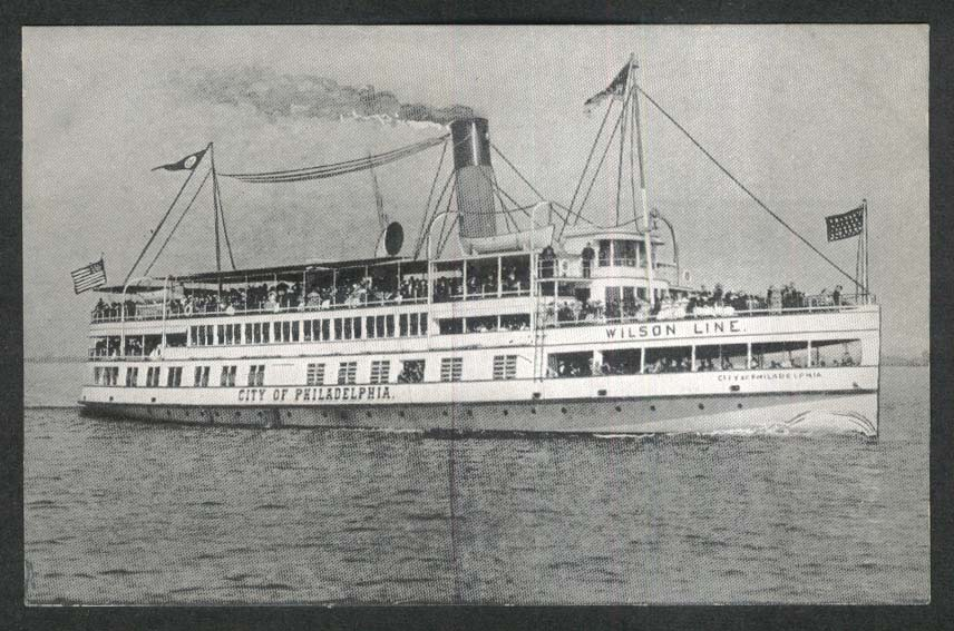Wilson Line City of Philadelphia riverboat postcard 1920s