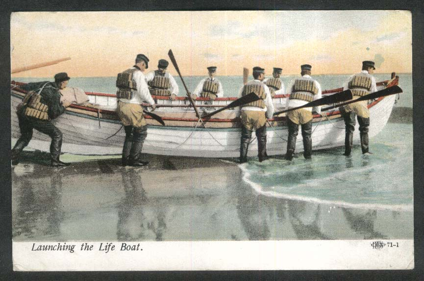 Launching the Life Boat postcard 1910s