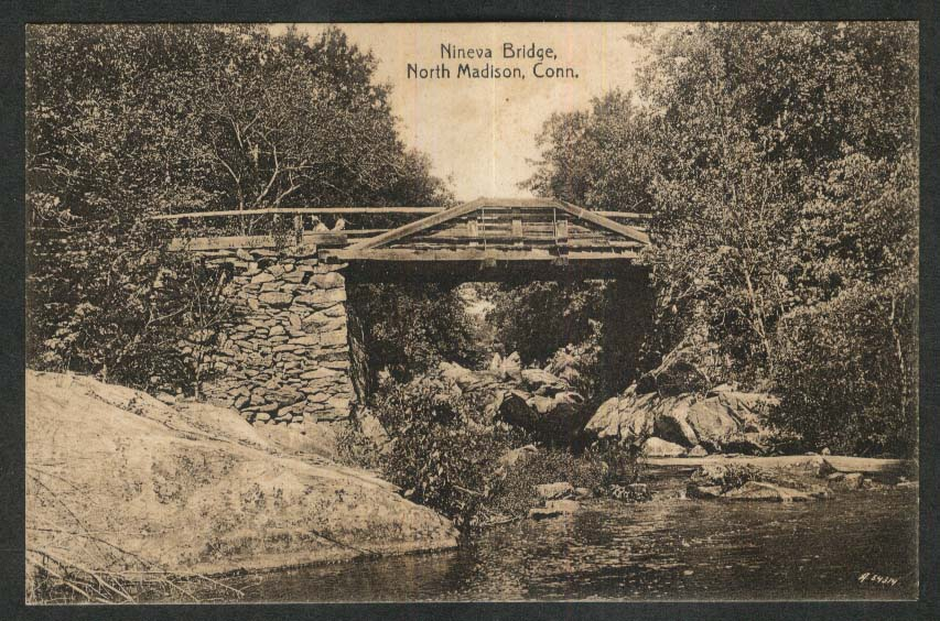 Nineva Bridge North Madison CT postcard 1910s