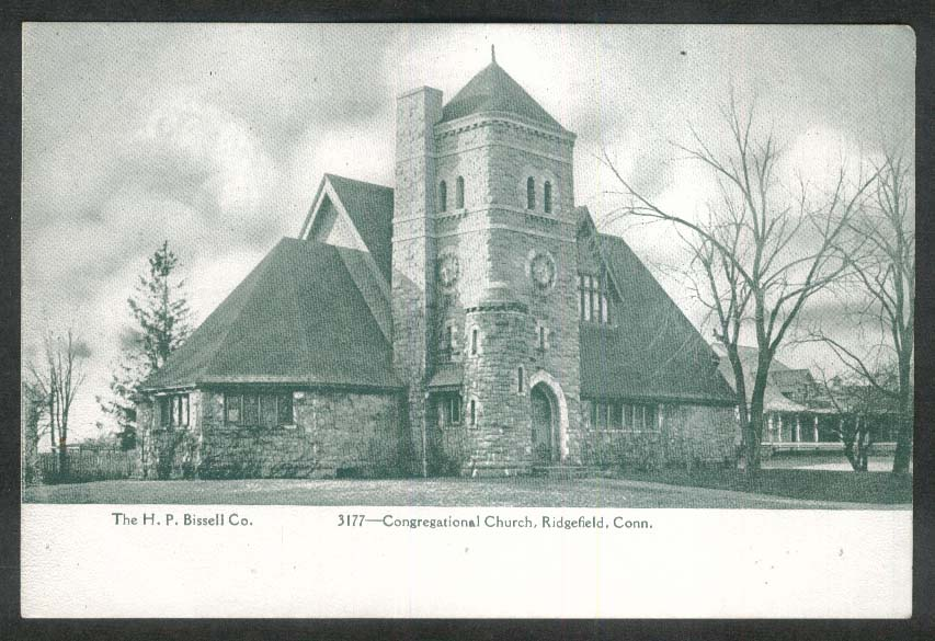 Congregational Church Ridgefield CT undivided back postcard 1900s