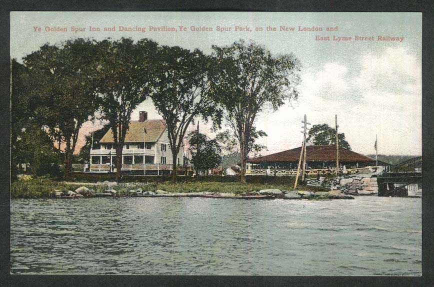 Ye Golden Spur Park Dancing Pavilion New London CT postcard 1920s