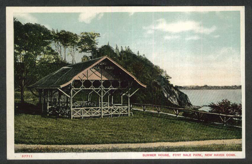 Summer House Fort Hale Park New Haven CT postcard 1910s